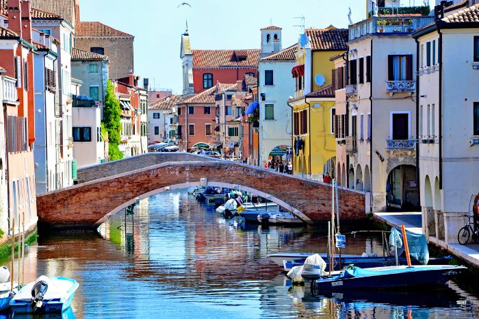 Bridge and colorful houses in Chioggia