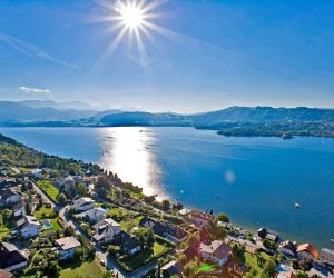 Sun sparkles in Lake Traunsee