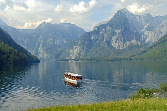 Boat at Lake Königssee with mountain scenery
