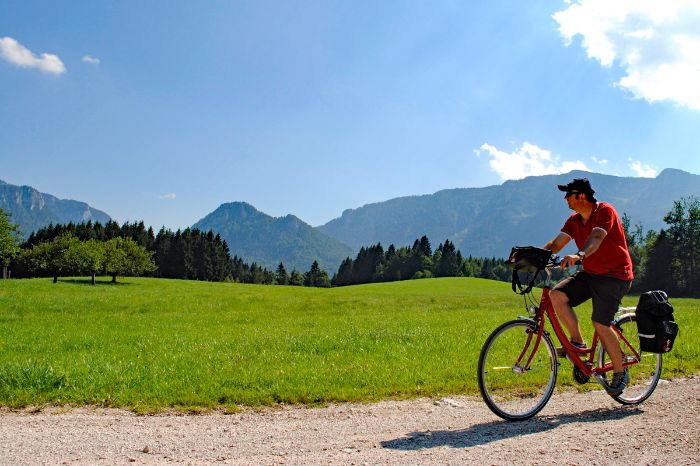 Cyclist on cycle path in Bavaria