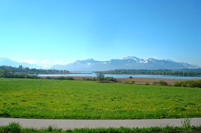 View over beautiful landscape and Lake Chiemsee