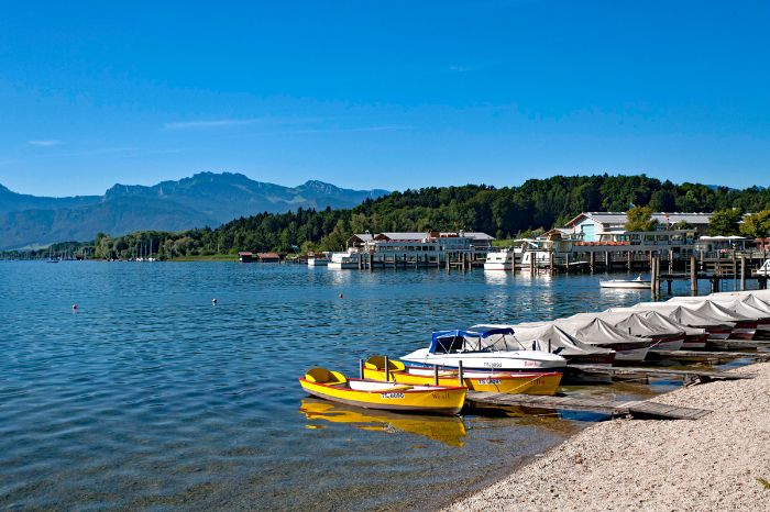 Boats in the port of Prien at Lake Chiemsee