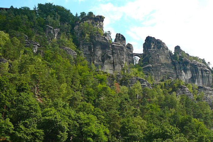 Rock formation Bastei on the cycle path