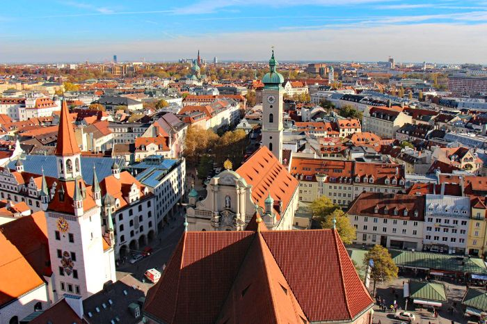 View over the historic centre of Munich