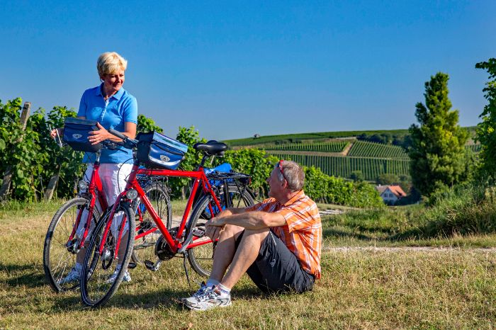 Cyclists having a break in Auggen in the Southern Black Forrest