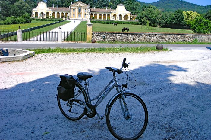 Bike in front of small castle