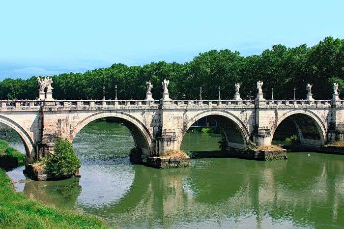 Ponte Sant'Angelo and the river Tiber in Rome