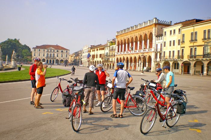 Group of cyclists at a Piazza in Padova