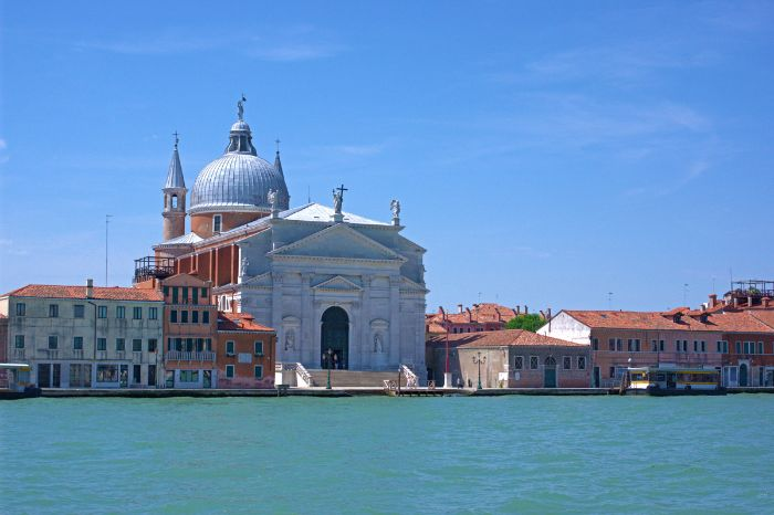 View from the water to the Chiesa del Santissimo in Venice