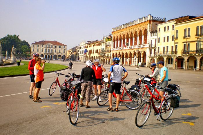 Group of cyclists in Padova