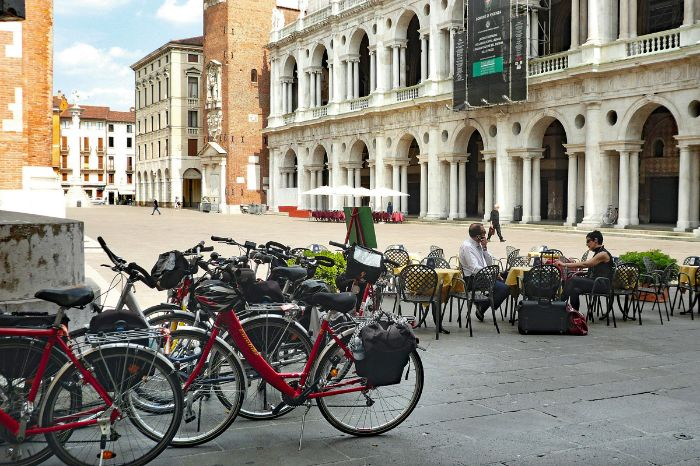 Bikes at a piazza at Vicenza