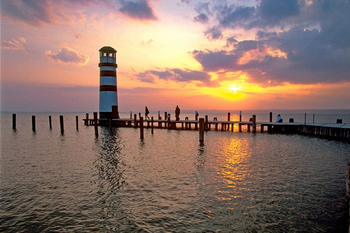 Light house at sunset at Lake Neusiedl