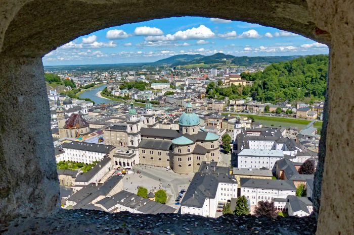 View over the cathedral and the historic centre of Salzburg