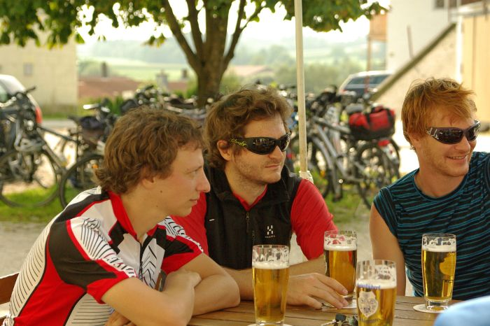 Cyclists having a beer