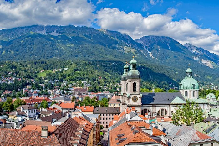View over the historic centre of Innsbruck