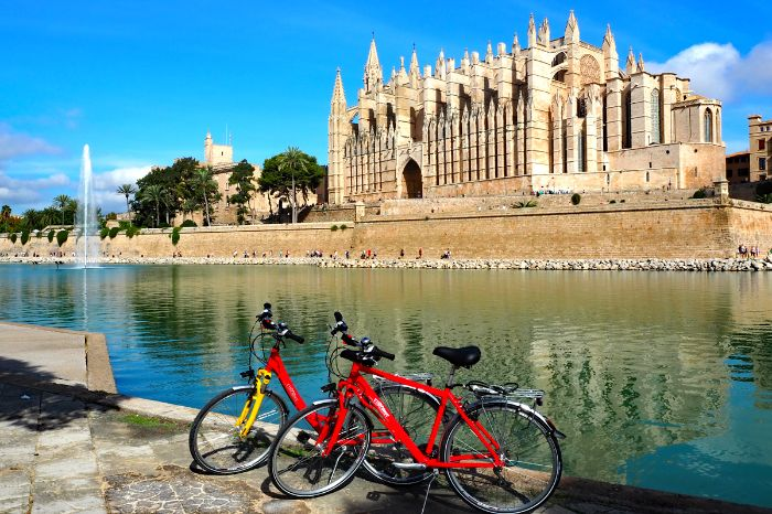 Eurobike Bicycles in front of the Cathedral of Palma de Mallorca