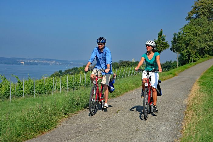 Cyclists at cycle path near Hagenau at Lake Constance
