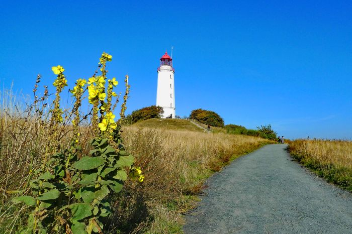 Lighthouse next to the cycle path at the island Hiddensee