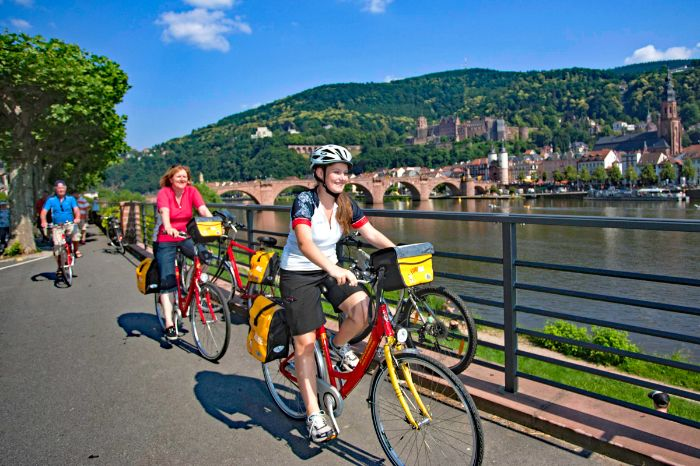 Cyclists near historic centre of Heidelberg