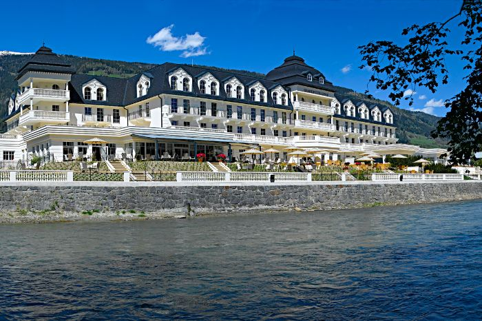 View from the water to the Grand Hotel Lienz