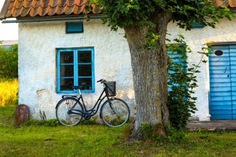 Bike in front of a house