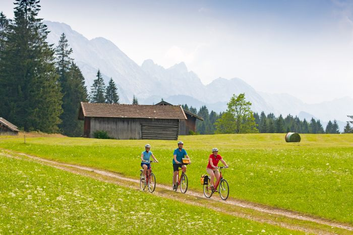 Cyclists on green meadow in the region Werdenfelser Land