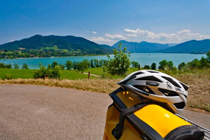 Helmet in front of Lake Tegernsee