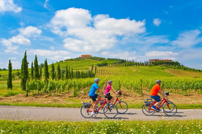 Cyclists in Tuscany