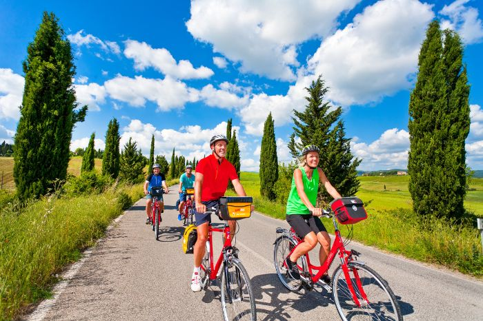 Cyclists in a cypress alley in the Chianti region