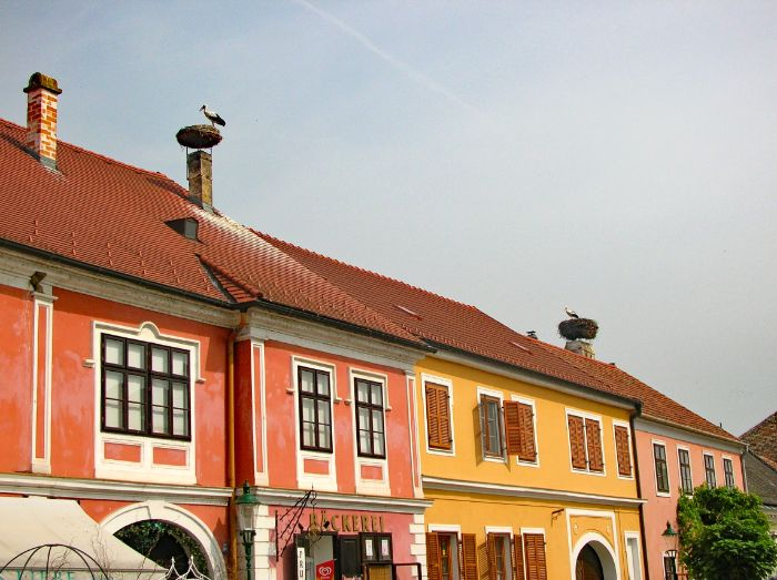 Colorful houses with stork on the roof top
