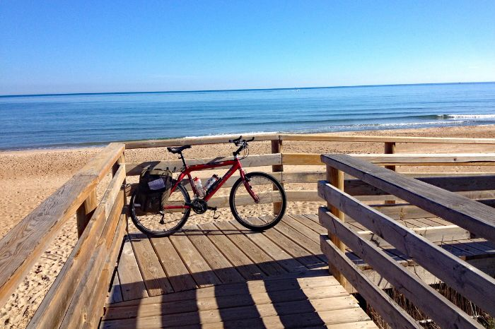 Bike in front of beach and sea