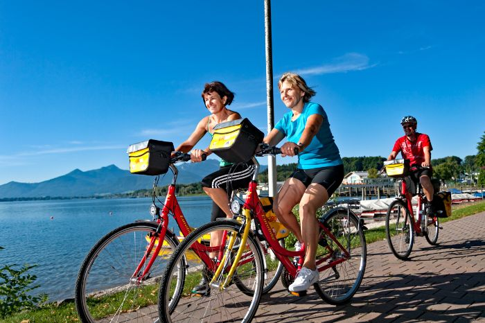 Eurobike cyclists at the promenade in Prien at Lake Chiemsee