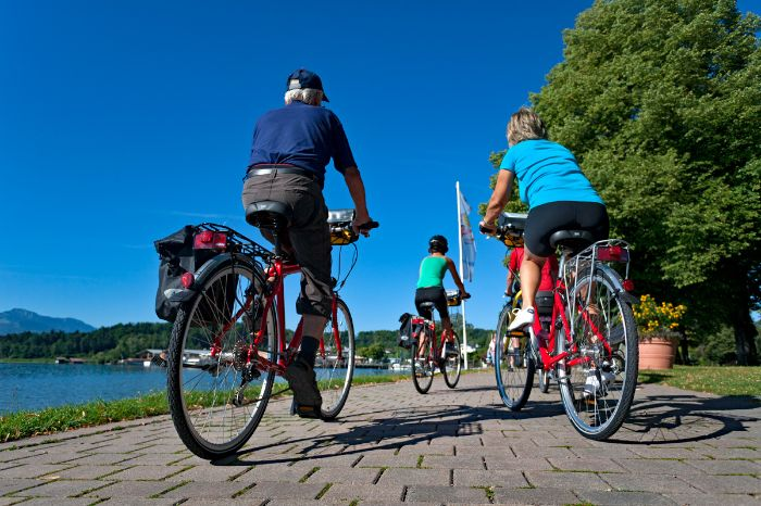 Eurobike cyclists on cycle path at Lake Chiemsee