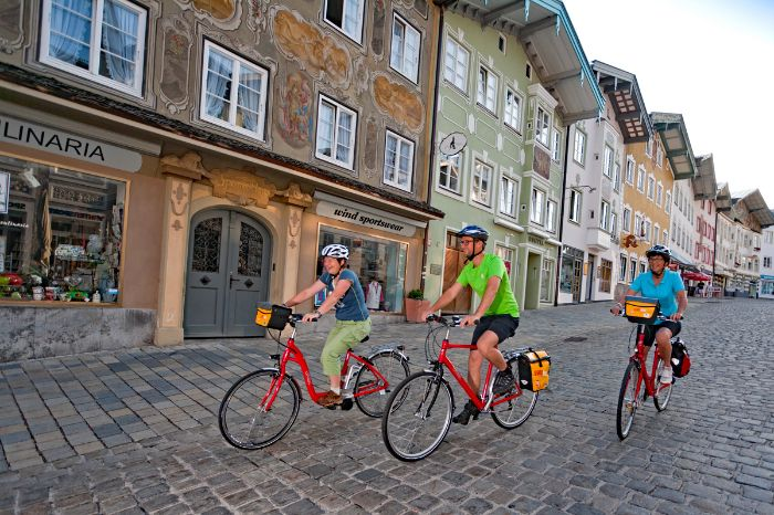 Eurobike cyclists in the centre of Bad Tölz