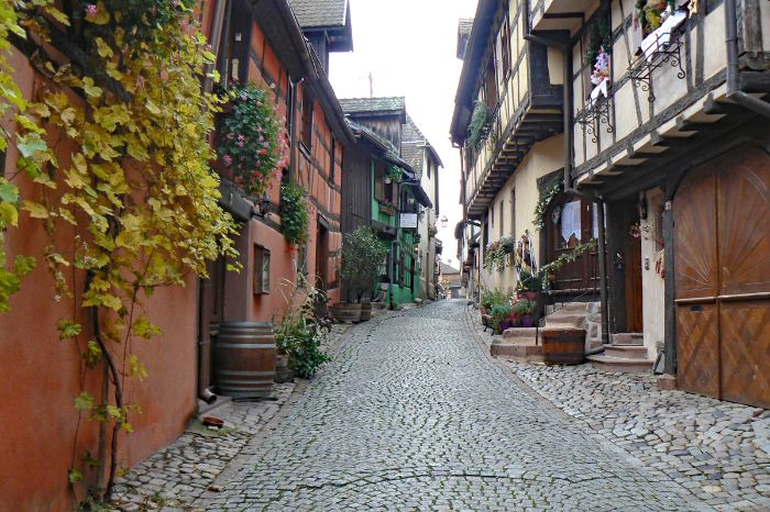 Alley with half-timbered houses