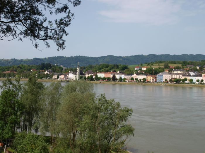 View to village at the river Danube