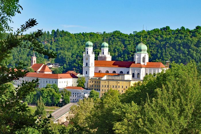 View to the St. Stephan cathedral in Passau