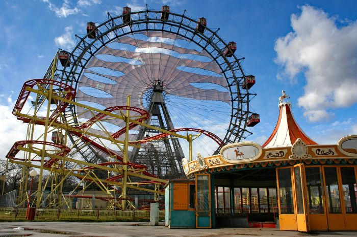 Observation wheel and roller coaster at Viennese Prater
