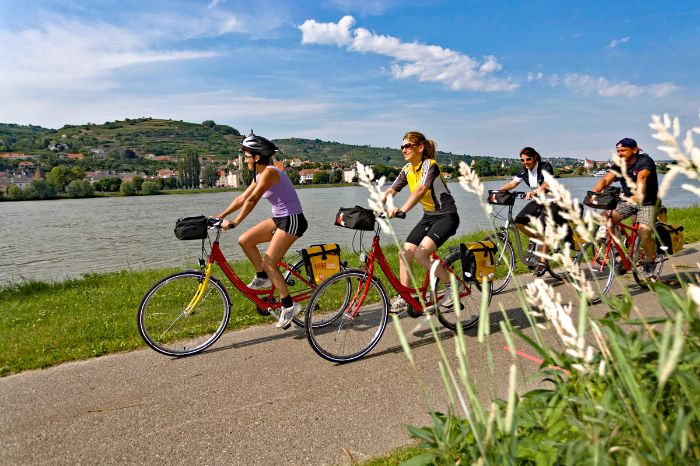 Cyclists on cycle path along the river Danube