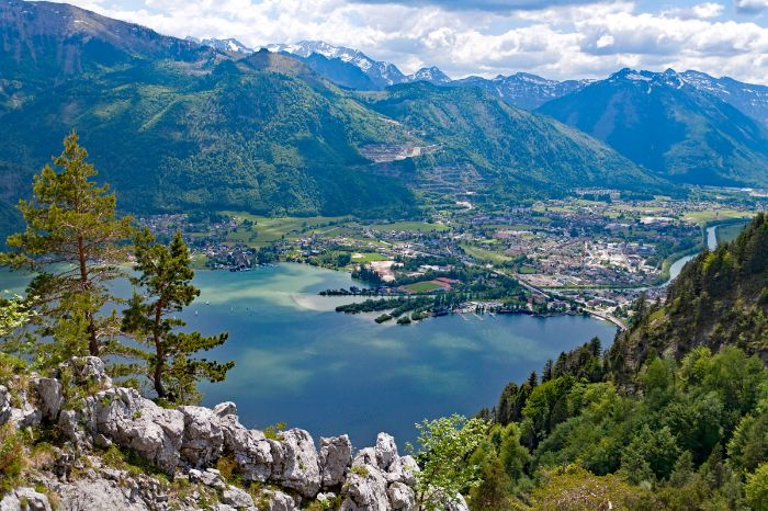 View from the mountains to Lake Traunsee