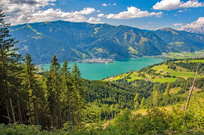 View from the mountain over the Lake Zellersee