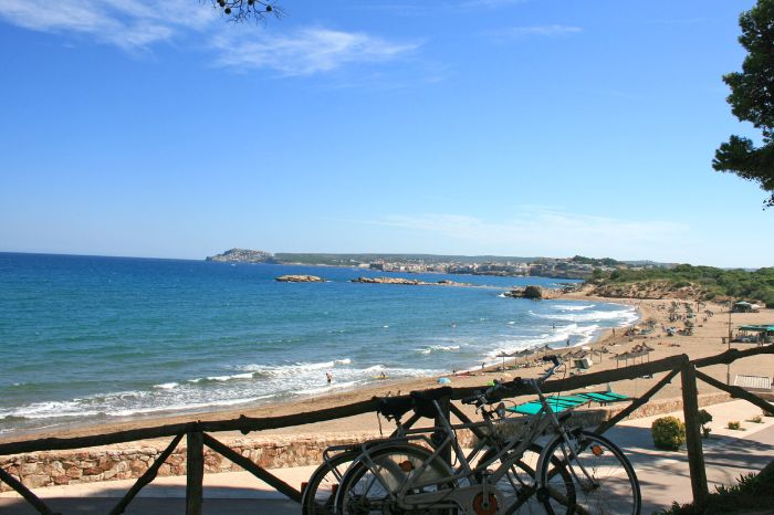 View from the cycle path to the beach of St. Marti and the sea